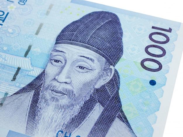 Coreia do sul 1000 ganhou moeda de notas close-up macro, dinheiro coreano