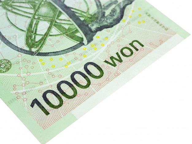 Coreia do sul 10000 ganhou o macro ascendente próximo da moeda da cédula, dinheiro coreano.