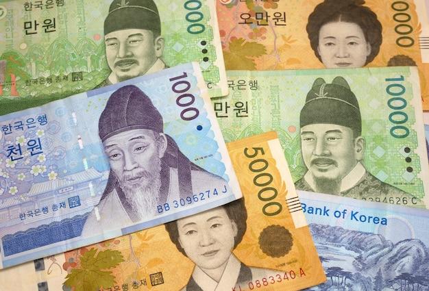 Coreia do sul ganhou dinheiro moeda. conceito de negócio de finanças