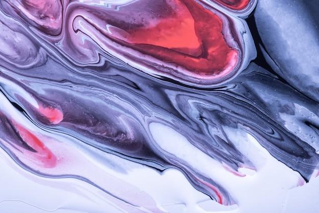 Cores azuis e brancas do fundo da arte fluida abstrata. mármore líquido. pintura acrílica sobre tela com linhas vermelhas e gradiente. pano de fundo de tinta de álcool roxo com padrão ondulado.