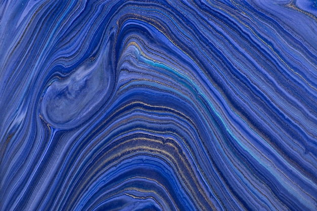 Cores azuis marinhas do fundo abstrato da arte fluida.