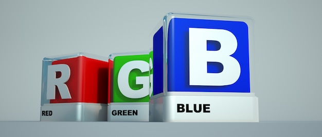 Cores básicas de impressão vermelho, verde e azul