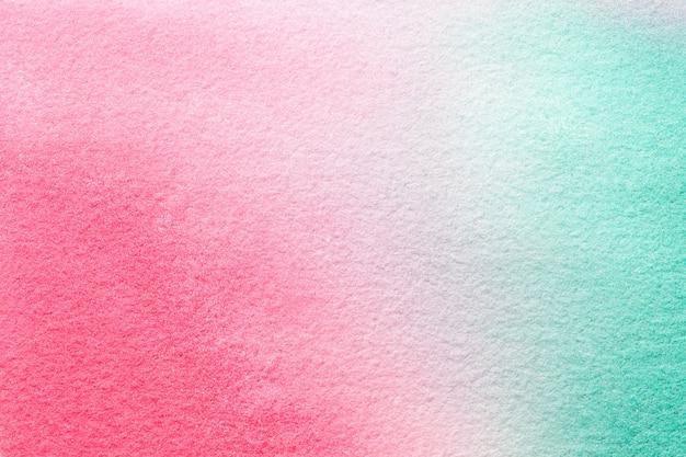 Cores ciano e cor-de-rosa da luz abstrata do fundo da arte. pintura em aquarela sobre tela.