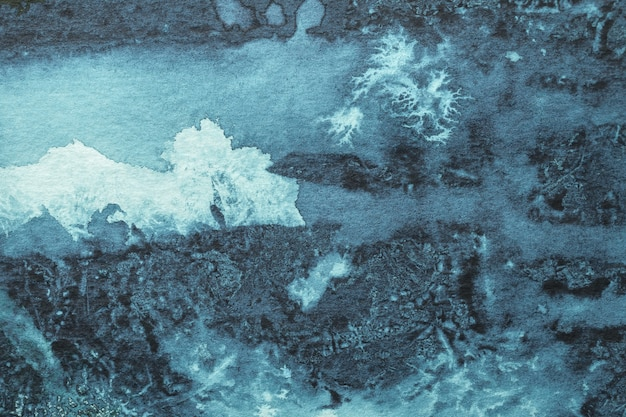 Cores de azul marinho e cinza de fundo de arte abstrata. pintura em aquarela sobre papel áspero