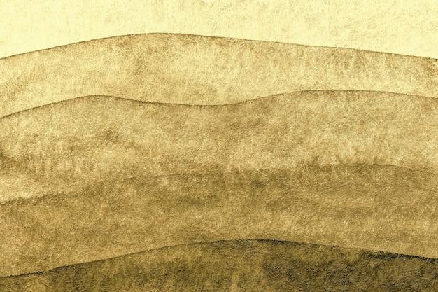 Cores douradas do fundo da arte abstrata. pintura em aquarela sobre tela com padrão de ondas marrons.