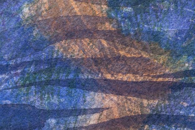 Cores escuras dos azuis marinhos e marrons do fundo da arte abstrata. pintura em aquarela sobre tela com gradiente suave violeta.