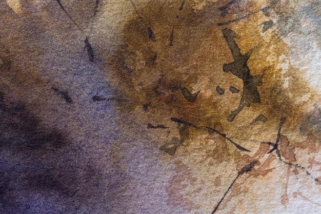 Cores marrons escuras do fundo da arte abstrata. pintura em aquarela sobre papel áspero com cores bege.