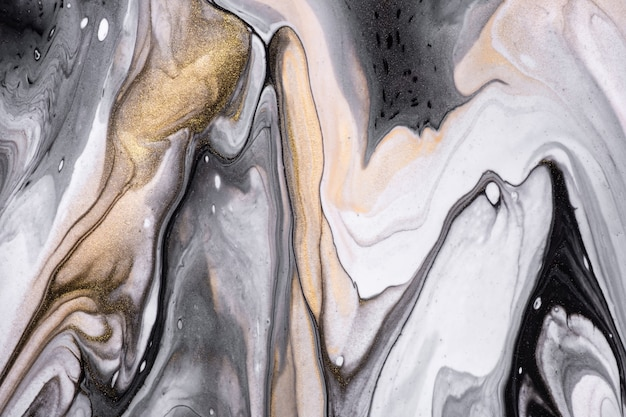 Cores preto e branco do fundo abstrato da arte fluida