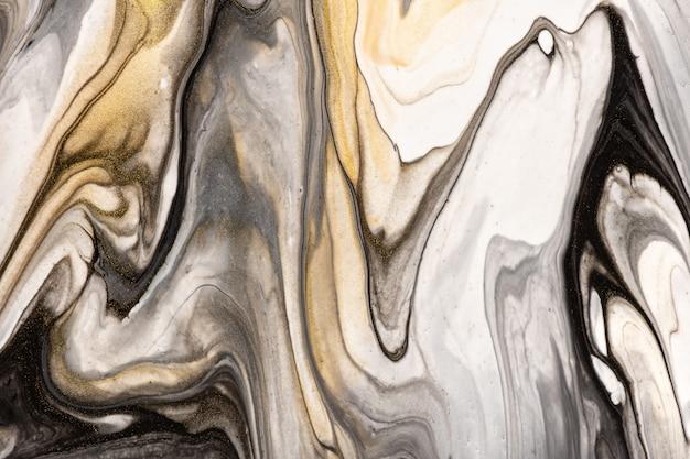 Cores preto e branco do fundo da arte abstrata fluida