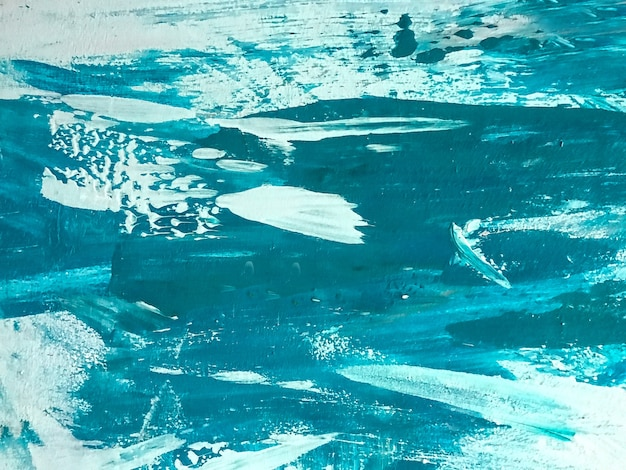 Cores turquesas e brancas do fundo da arte abstrata. pintura em aquarela sobre tela com gradiente cerúleo. cenário de textura acrílica com padrão de pinceladas.