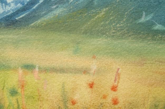 Cores verdes e amarelas claras do fundo da arte abstrata. pintura em aquarela sobre tela com gradiente suave de oliva. fragmento de arte em papel com padrão de campo. pano de fundo de textura.