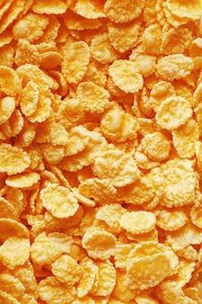 Cornflakes dourados, vista superior, pequeno-almoço saudável