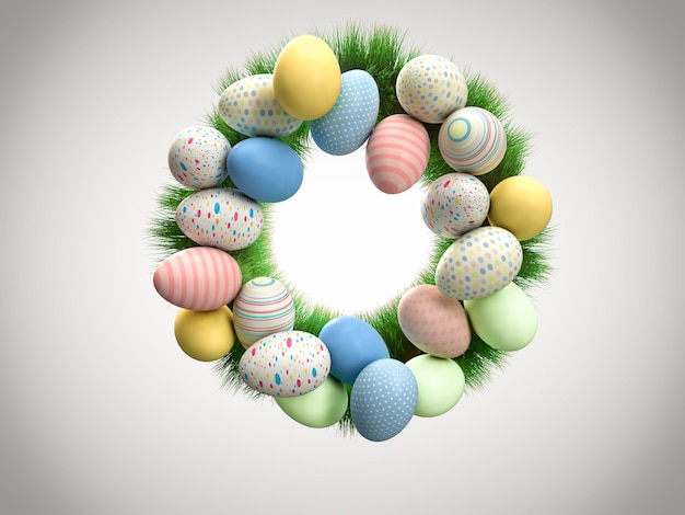 Coroa colorida feita de ovos de páscoa pintados e grama verde fresca