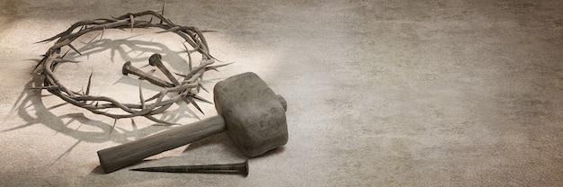 Coroa de espinhos de jesus cristo, pregos e renderização em 3d do martelo