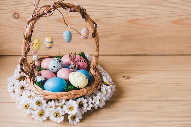 Coroa de flores ao redor da cesta com ovos