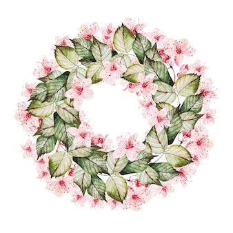 Coroa de flores com as flores de cerejeira