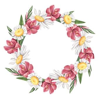 Coroa de flores de verão - margarida, lírio, quadro de camomila