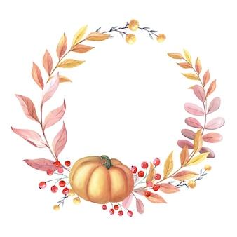 Coroa de flores em aquarela com abóbora, folhas, bagas vermelhas sobre fundo branco. quadro com arranjo de outono. ilustração para o feriado de ação de graças. colheita fresca. esboço desenhado de mão isolado.