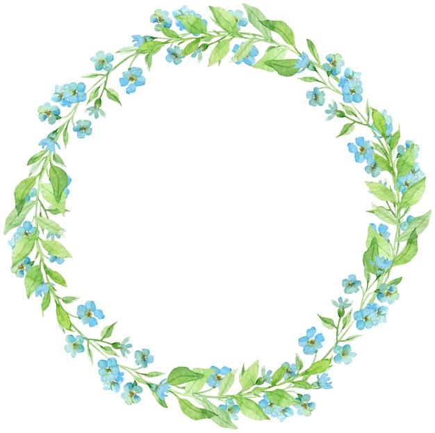 Coroa de flores em aquarela com flores miosótis. primavera pequenas flores azuis. quadro de círculo.