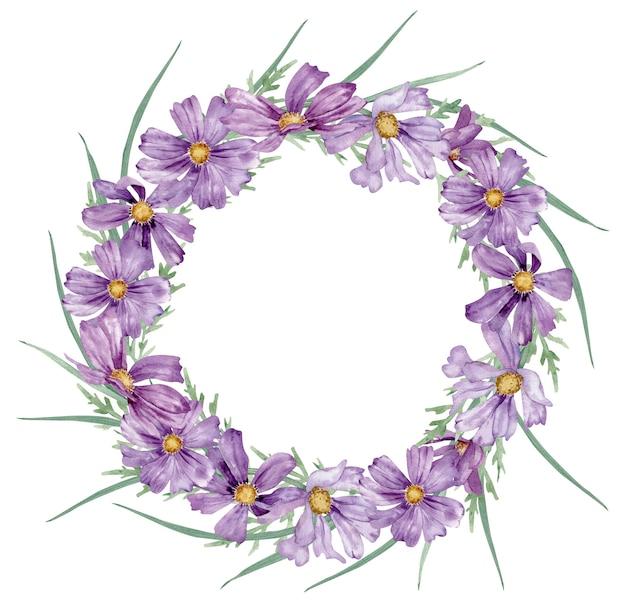 Coroa de flores em aquarela com flores roxas de verão e grama verde
