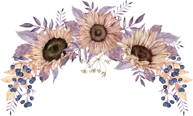 Coroa de flores em aquarela com girassóis, bagas azuis e folhas roxas.