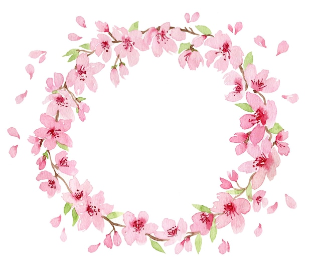 Coroa de flores em aquarela com ramo de delicadas flores rosa desabrochando, botões e folhas isoladas em branco