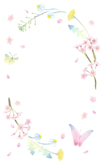 Coroa de flores em aquarela de butterlies e flores da primavera, como bolsa de pastores dente de leão sakura e margaret