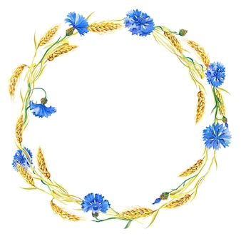 Coroa de flores em aquarela de flores azuis, espigas de trigo maduro. bela moldura brilhante com flores azuis, folhas verdes.
