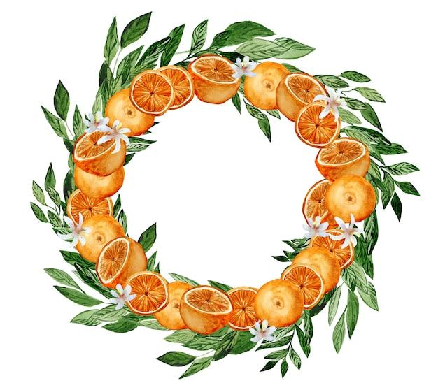 Coroa de flores em aquarela de frutas cítricas com laranjas.