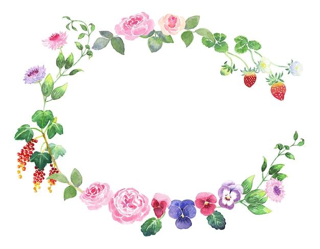 Coroa de flores em aquarela pintada à mão com rosas, amores-perfeitos, morangos, groselha, samambaia e cornflower