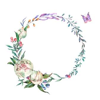 Coroa de flores em aquarela verão de peônias
