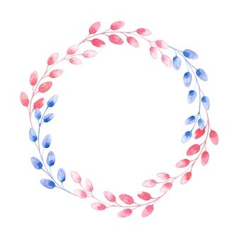 Coroa de flores redonda em aquarela com ramos de salgueiro coloridos para a páscoa em um fundo branco, ilustração de primavera para as festas, embalagens, cartões postais