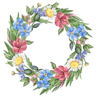 Coroa de flores silvestres verão, folhas e ervas