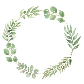 Coroa de folhas em aquarela de eucalipto. cartão de convite de casamento moderno, salve a data, moldura de folhagem verde clipart, bricolage, scrapbook clipart, estilo boho
