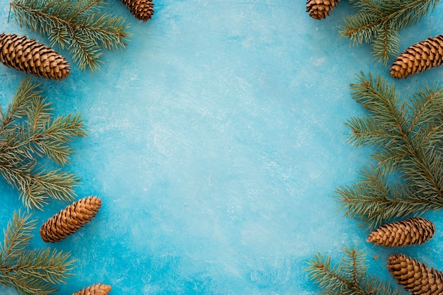 Coroa de moldura de agulhas e cones de pinheiro