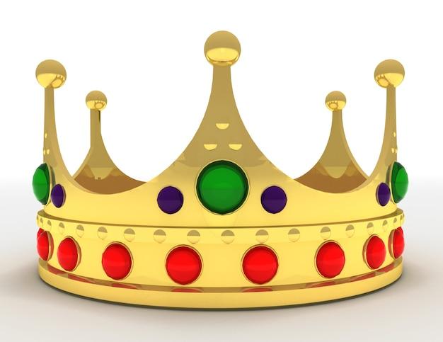 Coroa de ouro isolada. ilustração renderizada 3d
