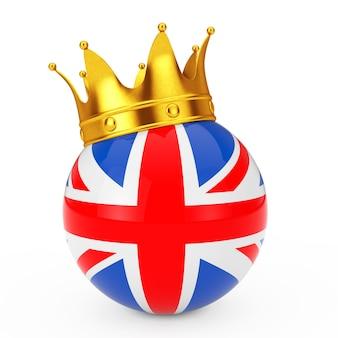 Coroa de ouro sobre a esfera com a bandeira do reino unido em um fundo branco. renderização 3d