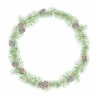 Coroa de ramos de pinheiro e cones