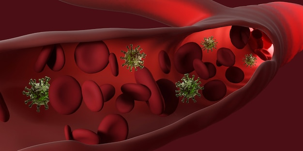Coronavirus 2019-ncov e células com doença viral e glóbulos vermelhos. desativação da infecção pelo vírus covid-19 corona. 3d render Foto Premium