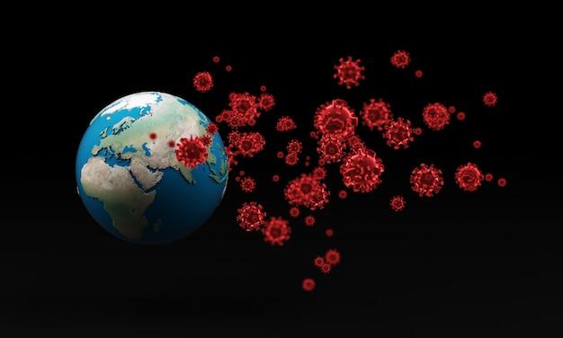 Coronavírus com globo da terra - surto de gripe ou influenza de coronavírus, renderização em 3d