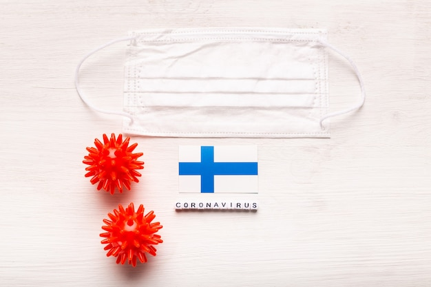 Coronavírus covid conceito vista superior máscara protetora de proteção e bandeira da finlândia