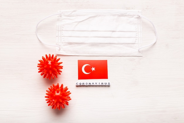 Coronavírus covid conceito vista superior máscara protetora de respiração e bandeira da turquia