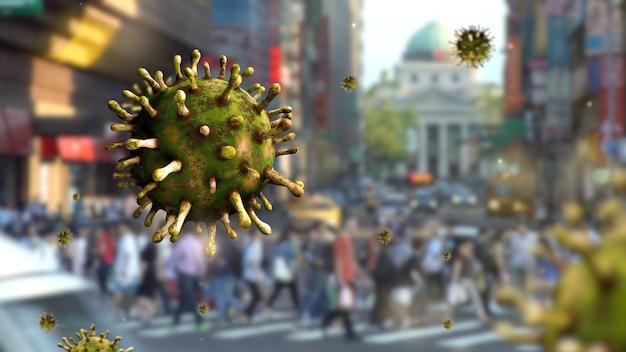 Coronavírus da gripe flutuando na rua com pessoas na cidade moderna de taipei