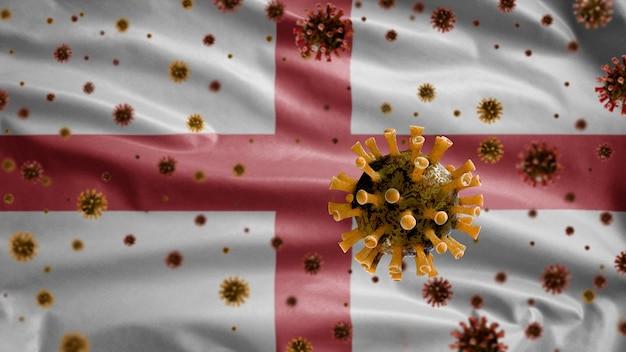 Coronavírus da gripe flutuando sobre a bandeira da inglaterra, patógeno que ataca o trato respiratório.
