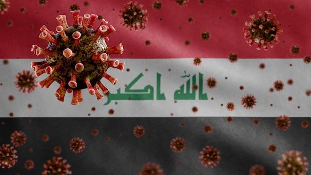 Coronavírus da gripe flutuando sobre a bandeira do iraque, patógeno que ataca o trato respiratório