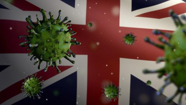 Coronavírus da gripe flutuando sobre a bandeira do reino unido, um patógeno que ataca o trato respiratório. bandeira da grã-bretanha acenando com a pandemia do conceito de infecção do vírus covid19. estandarte de textura de tecido