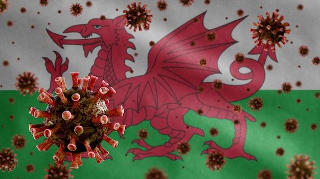 Coronavírus da gripe flutuando sobre a bandeira galesa, um patógeno que ataca o trato respiratório.