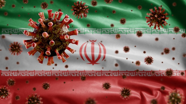 Coronavírus da gripe flutuando sobre a bandeira iraniana, patógeno que ataca o trato respiratório