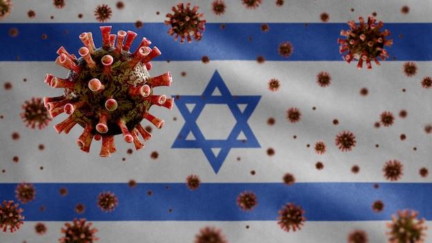 Coronavírus da gripe flutuando sobre a bandeira israelense, um patógeno que ataca o trato respiratório.