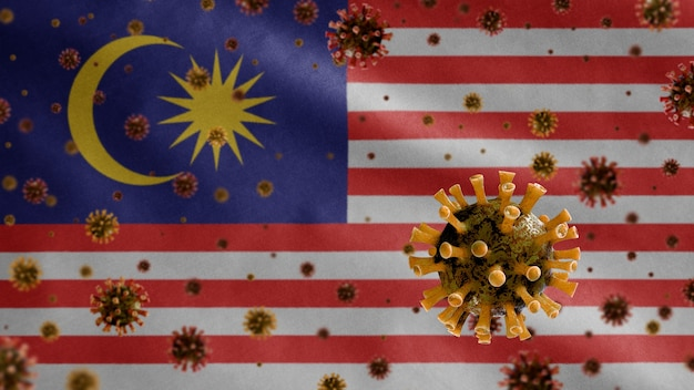 Coronavírus da gripe flutuando sobre bandeira da malásia, patógeno que ataca o trato respiratório